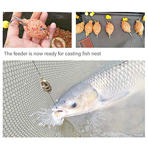 ATopoler 5 Pieces Fishing Inline Feeders with Quick Release Mould Carp Fishing Method Feeder Fishing Bait Accessories 15g 20g 25g 35g