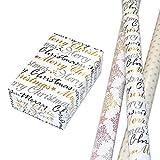 Geschenkpapier Weihnachten Set 3 Rollen (75 x 150 cm), Sterne und Schrift hochwertig mit gold- und silber-farbigem Glitter veredelt. Für Weihnachten, Geburtstag. Edel und außergewöhnlich.