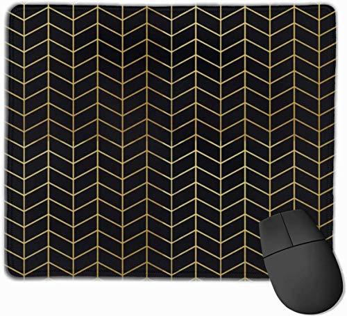 Geometrische visgraat patroon Faux Gold Foil zwart Gaming Mouse Mat Pad Mouse Mat Anti-lip Rubber Base Oppervlak voor Computer PC Toetsenbord en Bureau 9.8