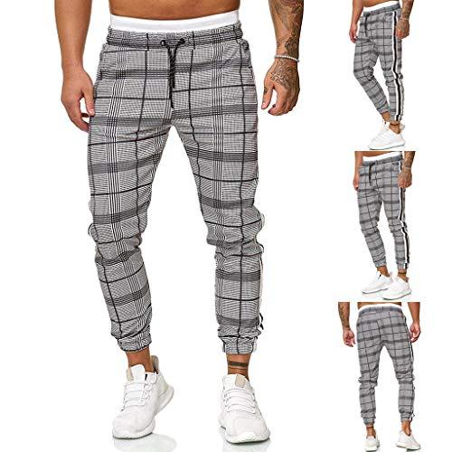 2021 Nouveau Sports et Loisirs pour Hommes Carreaux Jogging Carreaux Ceinture élastique Slim Coton Pantalon Confortable Vêtements Sport Multi-Poches