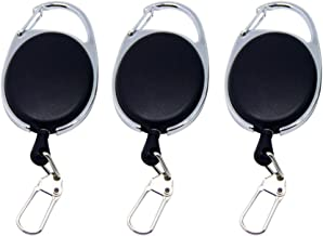3pcs Retractable Keychain Badge Reel with Carabiner Belt Clip Nylon Rope Key Ring (Black)