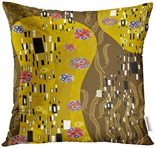 Fodere per cuscini decorativi Modello viola Ispirato a Klimt Astratto giallo Bacio Federa floreale Fodere per cuscini Custodia Protettori Divano 18x18 pollici Double Sided-Image 9