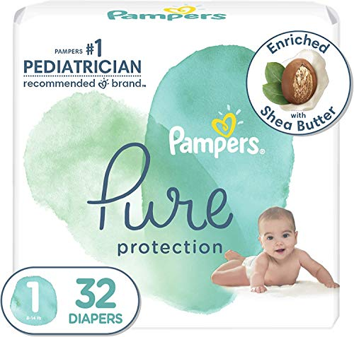 Diapers Newborn/Size 1 (8-14 lb), 32 Count - Pampers Pure Protection Disposable Baby Diapers, Hypoallergenic and Unscented Protection, Jumbo Pack (Packaging May Vary)