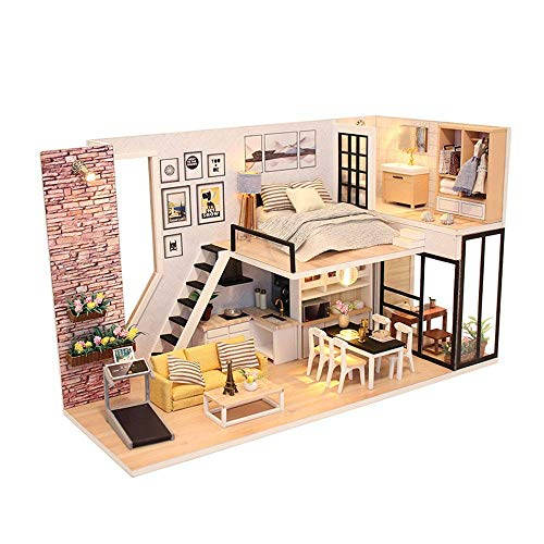 WEHOLY Toy Dollhouse, DIY Cottage Model Toys, Modern Style, Creative, Creative Christmas Birthday Gifts, Toddler Dollhouse Sets, DIY Miniature Dollhouse Set (Color: with Dust Cover + Music Movement)