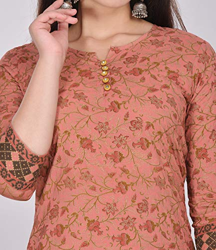 ANNU PARIDHAN Gorgeous Women's Cotton Printed Casual Wear Kurta and Palazzo (Pink, Medium)