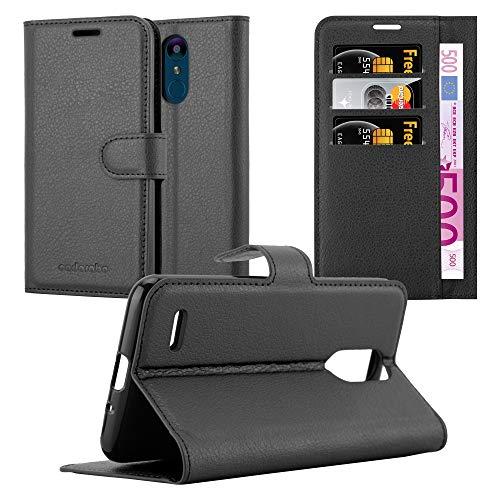 Cadorabo Hülle für LG K9 in Phantom SCHWARZ - Handyhülle mit Magnetverschluss, Standfunktion & Kartenfach - Hülle Cover Schutzhülle Etui Tasche Book Klapp Style