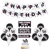 BAIBEI Globos de cumpleaños TIK Tok, 15pcs Suministros de decoración de fiesta TIK Tok Happy Birthday Banner Globos y adorno para tarta para fiesta musical Compartir celebración Suministros