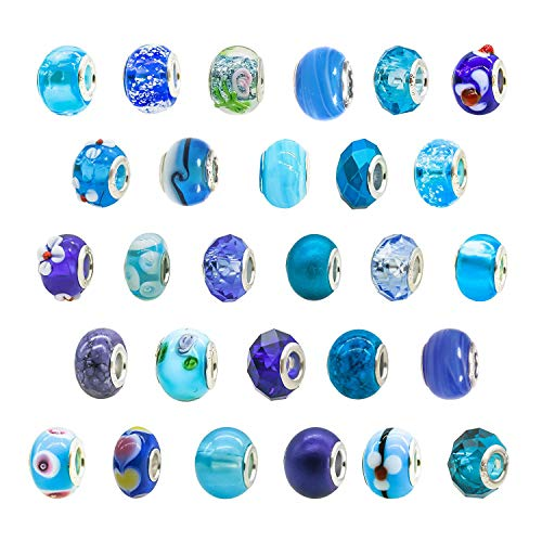 TOAOB 10pcs Sky Blue Theme Big Hole European Lampwork Beads Classic Glass Beads with Brass Silver Core about 14x10.5mm Fit Bracelet Necklace Jewelry Making