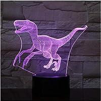 7色の3D恐竜LEDアクリル常夜灯タッチリモコンイリュージョン子供のためのギフトを変更します