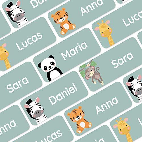 120 Namensaufkleber für Kleidung und andere Dinge - Dschungel-Tiere - Grün