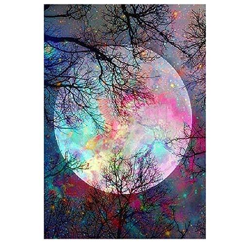 Xpboao Pintar por números - Paisaje, Luna, Gran árbol, Paisaje - Pintura al óleo de Lienzo Digital DIY Adultos Niños - Arte de decoración de Pared para el hogar - 30x40 - Sin Marco
