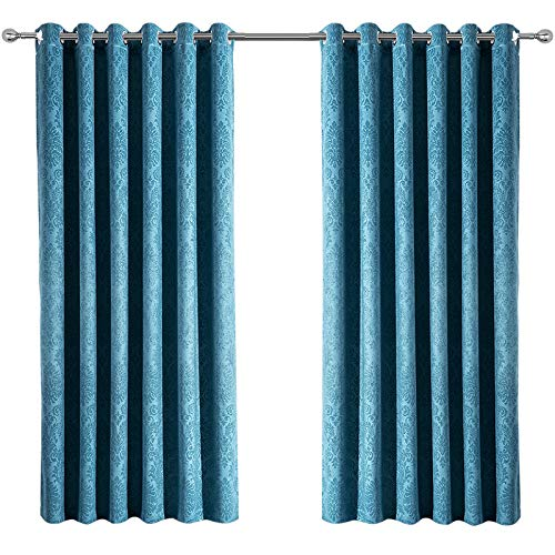 Blackout Teal Curtains 90x90 inch - Ready Made Thermal Eyelet Bedroom Wide Curtains for Living Room - Super Soft Embossed Pattern 2 Panel Drapes with Tiebacks