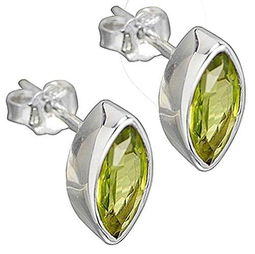 Peridot Schmuck (Ohrringe) Peridot Ohrstecker Peridot facettiert Größe ca. 5 mm x 10 mm 925er Sterling-Silber Modellnummer 4917