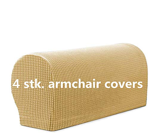 Set di 4 copri braccioli, elasticizzati, in morbido poliestere, antiscivolo, per poltrona, divano, divano, divano (beige)