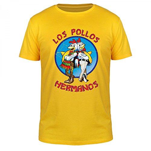 FABTEE - Los Pollos Hermanos - Herren Fun T-Shirt | Plus 2 Gratis Aufkleber | Als Geschenk zu Weihnachten, Geburtstag oder einfach so | in Größen bis 4XL, Größe:S, Farbe:Gelb