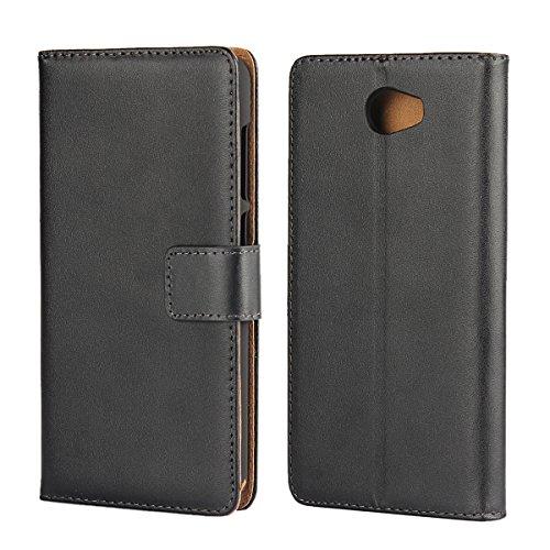 Copmob Huawei Y6 II Compact Hülle, Huawei Y6 II Compact HandyHülle, [Premium Leder] [Standfunktion] [Kartenfach] [Magnetverschluss] Schlanke Leder Brieftasche - Schwarz