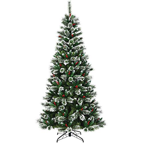 COSTWAY 6ft/7ft/8ft Snow Flocked Christmas Tree, Premium Hinged Slim Tree with Red Berries and Metal Base, for Xmas Indoor and Outdoor Décor (Green+White, 8FT)