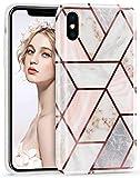 Imikoko iPhone Xs Case iPhone X Stylish Shiny Rose Gold Marble Design Glitter
