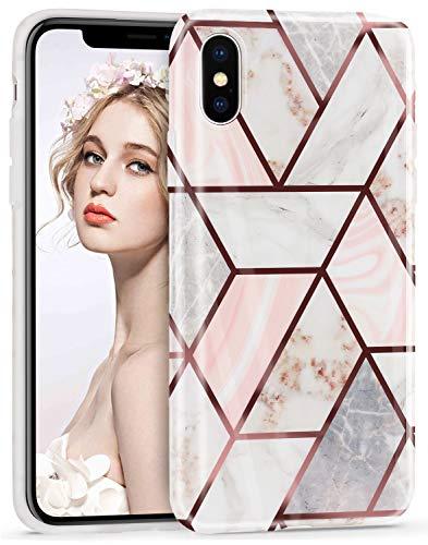 Imikoko Hülle für iPhone X/XS Glitter Bling Rosegold Handyhülle TPU Silikon Weiche Schlank Schutzhülle Handytasche Flexibel Case Handy Hülle