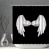 NJMRZX Feen-Duschvorhang mit Feen-Motiv, Elfenflügel, schwarz-weiß, dekorativer Stoff, Polyester, Badezimmer-Gardinen mit Haken, 183 x 183 cm