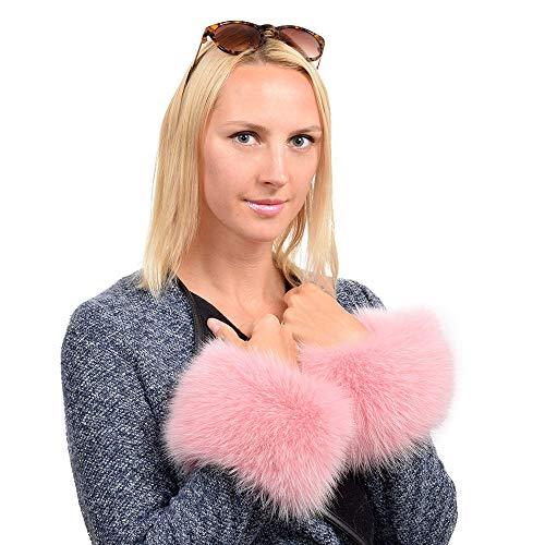 FOX FASHION Pelzmanschetten aus rosa Fuchsfell Pulswärmer Armstulpen Pelz Fuchs pink Fell Stulpen Manschetten Fellstulpen Echpelz Echtfell Echt
