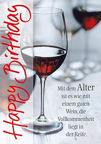 Geburtstagskarte Basic Classic - Weinglas - 11,6 x 16,6 cm