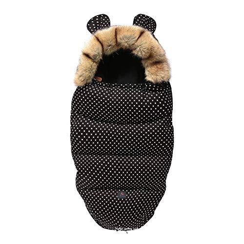 Bebé Saco de Dormir, Silla de Paseo Saco de Dormir, Saco de Dormir del bebé, espesante para Mantener el Calor y el frío, Fondo Negro y Puntos Blancos de 46 cm x 100 cm (sin Carrito),S