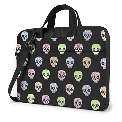 Stylish Colors Sugar Skull Laptop Bag Briefcase Shoulder Mesenger Bag for Women Men 13 Inch