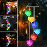 SIEBIRD Heart Wind Chimes Solar Wind Chimes Outdoor Romantic LED Color Changing Solar Wind Chime Light Mobile Solar Garden Lights Best Gifts for Valentine's Day Mother's Day Birthday Festival Decor