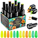 Smalto Semipermanente, Kastiny 9PCS Gel Unghie UV LED, con Base e Top Coat, Kit Manicure Smalti per Unghie Serie Verde Giallo Estivo