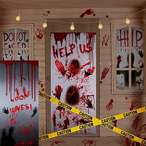 7 Decoraciones de Halloween Cubierta Decoración de Casa Puerta Ventana Sangrienta Adhesivo de Ventana Decoración Pegatina de Huella de Mano Huella Aterradora Cinta de Advertencia Amarilla