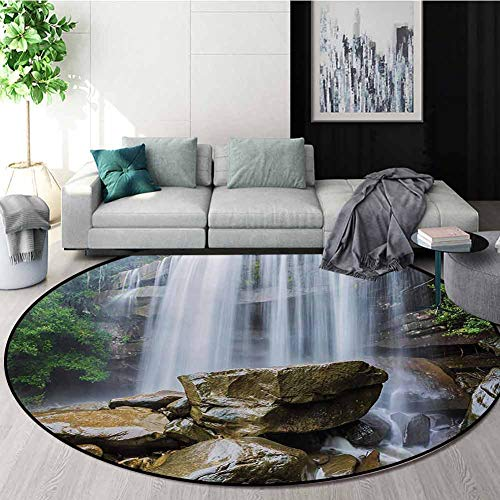 For Sale! Waterfall Modern Machine Round Bath Mat,Waterfalls Surrounded by Rocks and Tropical Exotic...