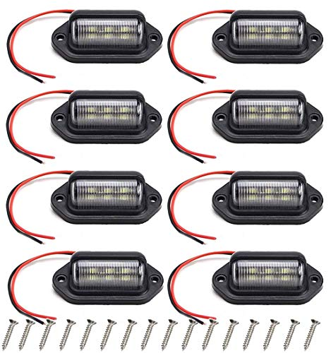 8 Packs 12V 6 LED License Plate Light Waterproof License Plate Lamp Taillight for Truck SUV Trailer Van RV Trucks and Boats License Tags, Dome/Cargo Lights or Under Hood Light,Pedal Lights