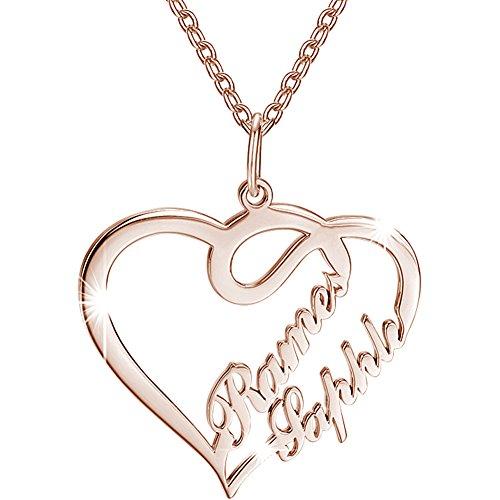 Soufeel Damen Kette mit Herz Anhänger Offen Halskette Namenskette mit Ihr Namen 925 Sterling Silber Rósegold vergoldet Geschenk für Frauen