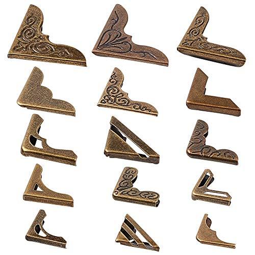 PandaHall 60 piezas 15 estilos de hierro protectores de esquina protector de borde, cubierta decorativa para muebles de metal para escritorio, caja de joyería, álbumes de recortes, álbumes de recortes