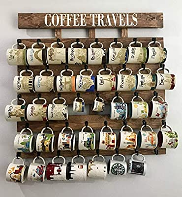 Rustic wood coffee cup rack 40 or 48 mug hooks You are here mug collection display from