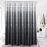 LORIE Ombre Grey Shower Curtain for Bathroom, Gradient Color Bathroom Decor with Hooks Waterproof Washable, 72x72 Inch
