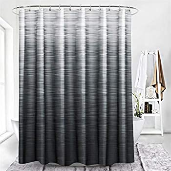 LORIE Ombre Grey Shower Curtain for Bathroom Gradient Color Bathroom Decor with Hooks Waterproof Washable 72x72 Inch