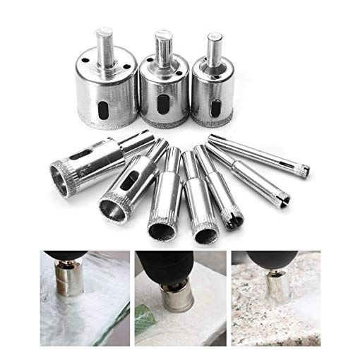 GUONING-L Tools Drill 6mm-32mm 10pcs Diamond Hole Saw Set Tile Ceramic Glass Porcelain Marble Hole Saw Cutter Drill Accessories drill bits set