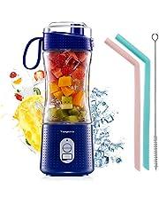 Vaeqozva Draagbare persoonlijke mixer voor smoothie en shakes, 6 krachtige 3D-messen, 4000 mAh, USB-oplaadbare sapbeker met herbruikbare siliconen rietjes (marineblauw)
