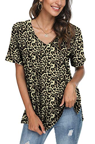 LONGYUAN Womens Short Rolled Sleeve Casual Basic Tops Stretchy Comfort Printed V-Neck Side Split Blouse Leopard,XXX-Large (Apparel)