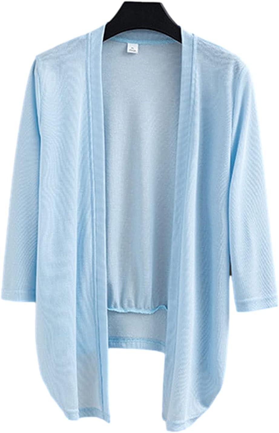 PUWEI Women's Solid 3/4 Sleeve Tie Front Knit Cardigan Lightweight Open Crop Shrug Jacket