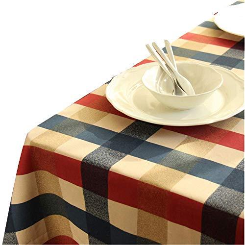MJK Manteles para el hogar, Manteles para el hogar Plaid Mantel de algodón Mesas de decoración de mesa Cubrir el mantel,rojo,140 × 140