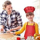 WEONE Kinder Schürze und Kochmütze Set, Kinder Einstellbare Kochschürze Kinderschürzen mit 2 Taschen für Jungen Mädchen, Kind Küchenschürzen für Küche Kochen Backen Malerei (7-13 Jahre) (Schwarz) - 3