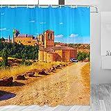 España Segovia Medieval Castillo Cortina de Ducha Viaje Decoración de Baño Set Con Ganchos Poliéster 72x72inch (YL-05436)
