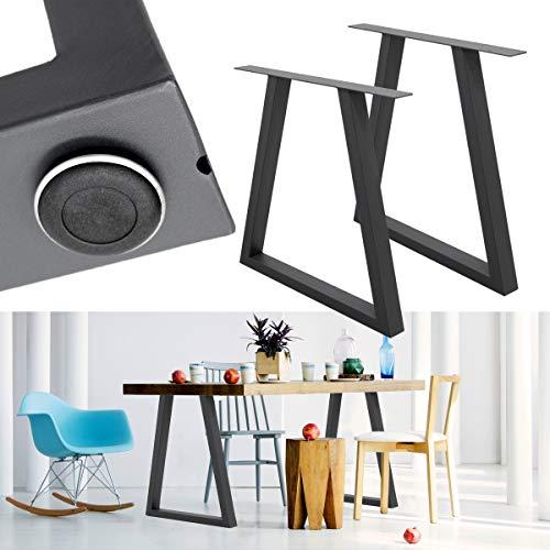 ECD Germany 2 Stück Tischgestell Trapez Design - 60 x 72 cm - aus pulverbeschichtet Stahl - Dunkelgrau - Industriedesign - Tischuntergestell Tischbeine Set Tischkufen Tischfüße