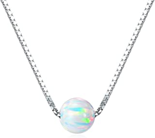 Sterling Silver 6mm Created Opal Choker Necklace - Choose Yellow Gold, Rose Gold, or Rhodium Finish