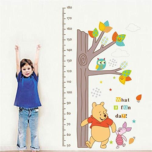 Gráfico de crecimiento lindo Árbol Winnie Niños Medición de altura The Pooh Owl Pegatinas de pared Salón Niños Dormitorio Decoración para el hogar Mural Decal