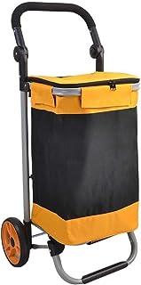 LQBDJPYS Large Capacity Shopping Trolley Foldable Wheeled Push Cart 2 Wheels Luggage Cart Yellow Waterproof Folding Luggag...