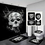 Halloween-Duschvorhang-Set mit Totenkopf-Motiv, Badezimmervorhänge & Antirutschmatte, Abdeckung für Toilettendeckel (A)